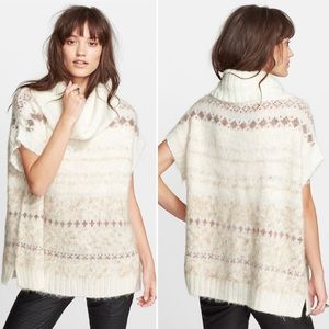 Free People Snow Bunny Fair Isle Cowl Sweater Med